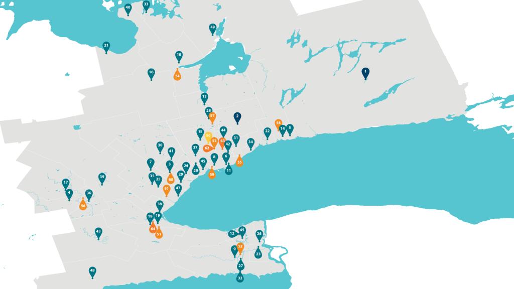 Carte des écoles dans le sud de l'Ontario